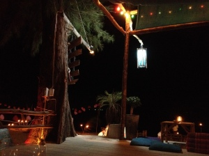 Beach platform: yoga by day, restaurant by night