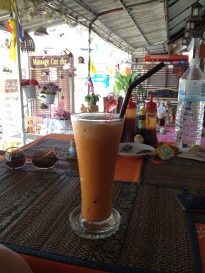 Thai crushed iced tea latte milkshake, Krabi, Thailand
