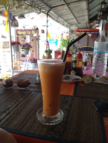 Thai crushed iced tea latte milkshake, Krabi, Thailand